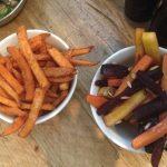 Sweet potato fries and heritage carotts