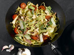 Leek and bacon stirfry